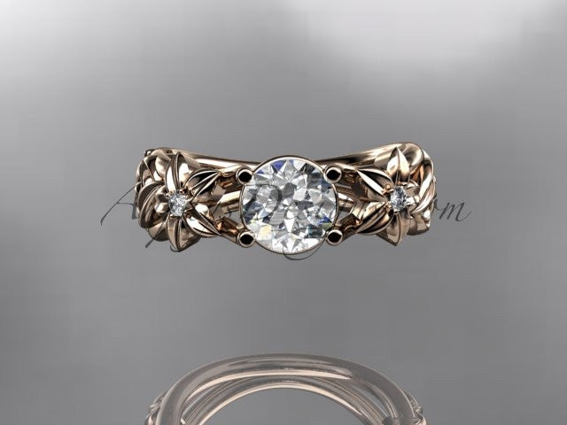 14kt rose gold diamond floral wedding ring, engagement ring ADLR216 - AnjaysDesigns