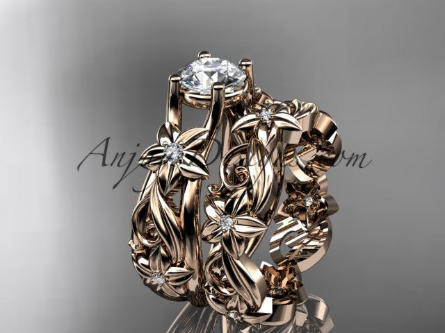 14k rose gold diamond floral wedding set, engagement set ADLR216 - AnjaysDesigns