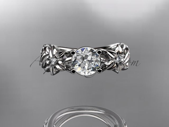 14kt white gold diamond floral wedding ring, engagement ring ADLR216 - AnjaysDesigns