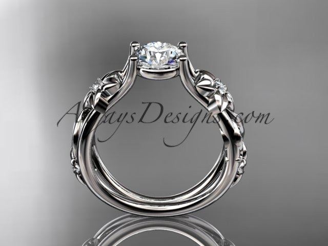 "Platinum diamond floral wedding ring, engagement ring with a ""Forever One"" Moissanite center stone ADLR216 - AnjaysDesigns"