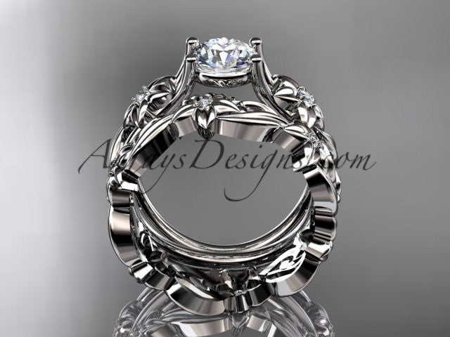 "14k white gold diamond floral wedding set, engagement set with a ""Forever One"" Moissanite center stone ADLR216S - AnjaysDesigns"