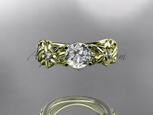 14kt yellow gold diamond floral wedding ring, engagement ring ADLR216 - AnjaysDesigns