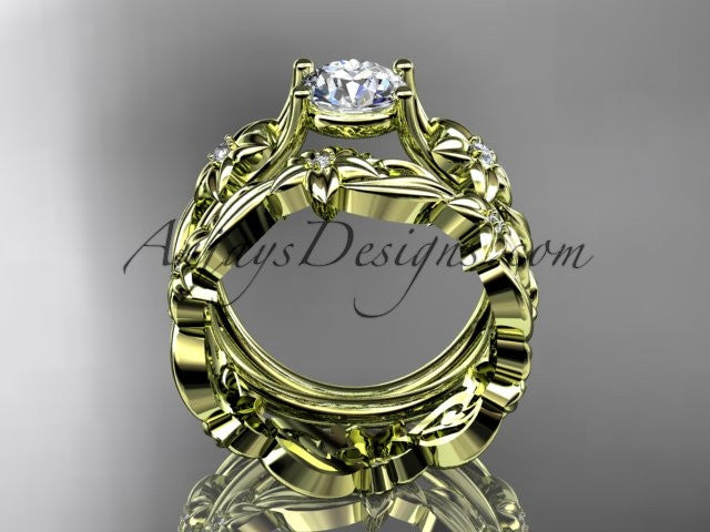 "14k yellow gold diamond floral wedding set, engagement set with a ""Forever One"" Moissanite center stone ADLR216S - AnjaysDesigns"