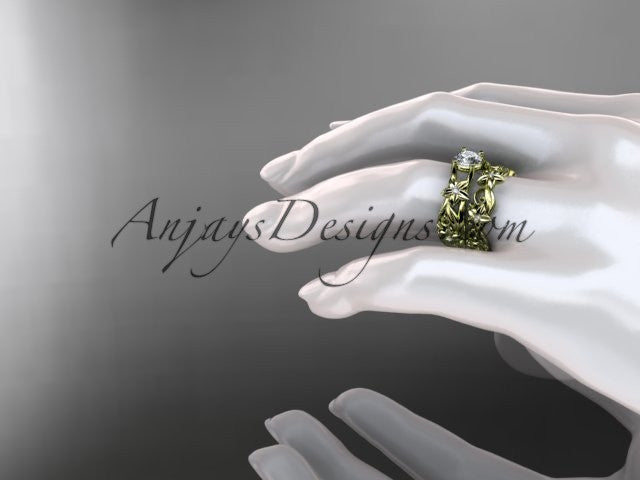 14k yellow gold diamond floral wedding set, engagement set ADLR216S - AnjaysDesigns