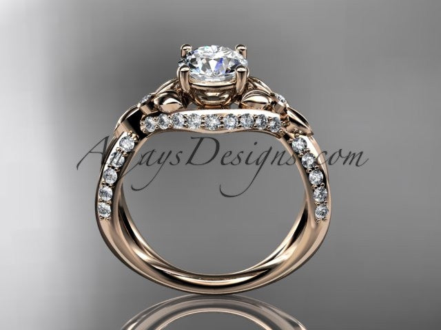 "Unique 14kt rose gold diamond flower, leaf and vine wedding ring, engagement ring with a ""Forever One"" Moissanite center stone ADLR218 - AnjaysDesigns"