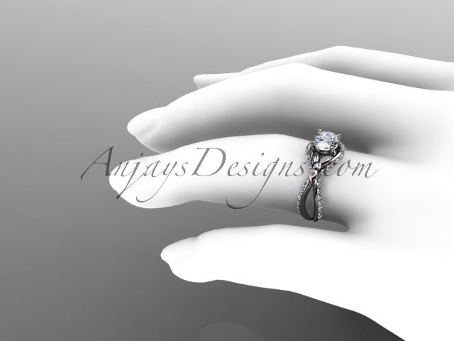 Unique 14kt white gold diamond flower, leaf and vine wedding ring, engagement ring ADLR218 - AnjaysDesigns