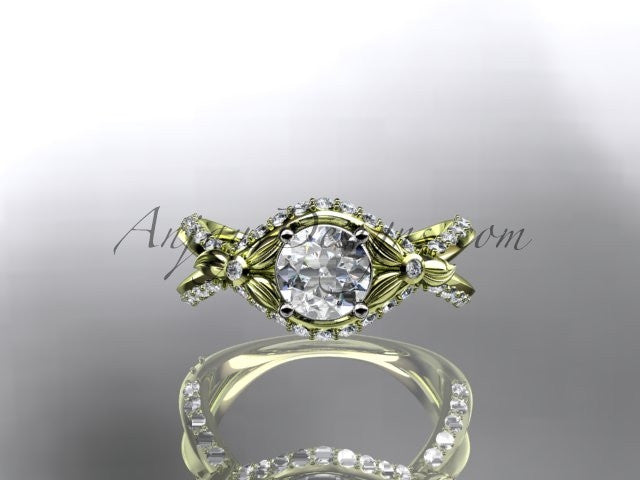 Unique 14kt yellow gold diamond flower, leaf and vine wedding ring, engagement ring ADLR218 - AnjaysDesigns