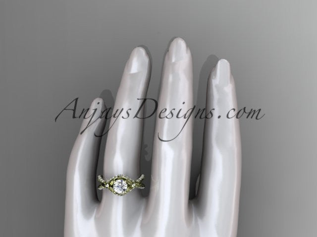 "Unique 14kt yellow gold diamond flower, leaf and vine wedding ring, engagement ring with a ""Forever One"" Moissanite center stone ADLR218 - AnjaysDesigns"