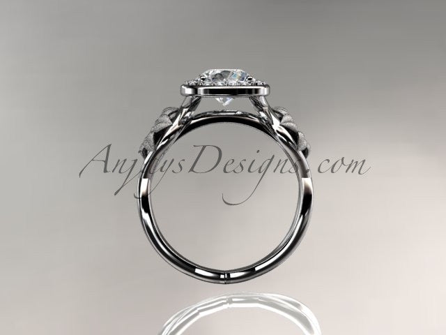 Unique 14kt white gold diamond flower wedding ring, engagement ring ADLR219 - AnjaysDesigns