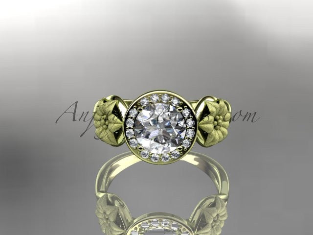 Unique 14kt yellow gold diamond flower wedding ring, engagement ring ADLR219 - AnjaysDesigns