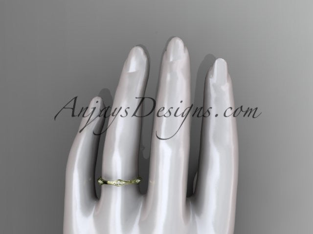 14kt yellow gold diamond vine wedding ring, engagement ring ADLR21AB - AnjaysDesigns