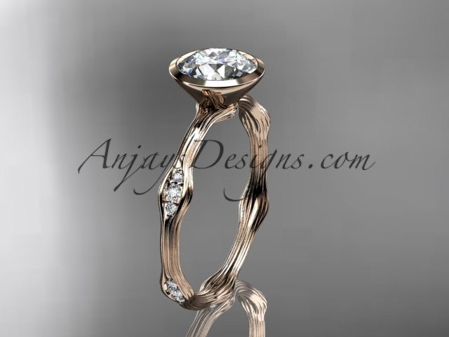 "14k rose gold diamond vine wedding ring, engagement ring with ""Forever One"" Moissanite center stone ADLR21A - AnjaysDesigns"