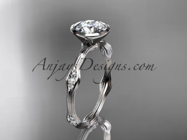 "Platinum diamond vine wedding ring, engagement ring with ""Forever One"" Moissanite center stone ADLR21A - AnjaysDesigns"