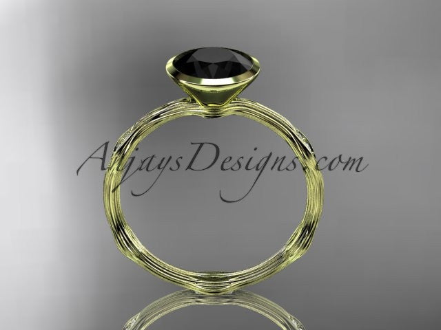 14k yellow gold diamond vine wedding ring, engagement ring with Black Diamond center stone ADLR21A - AnjaysDesigns