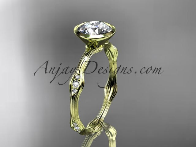 "14k yellow gold diamond vine wedding ring, engagement ring with ""Forever One"" Moissanite center stone ADLR21A - AnjaysDesigns"