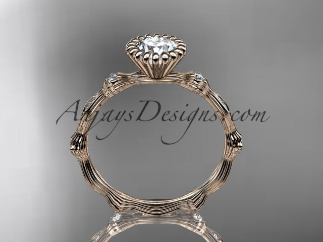 14kt rose  gold diamond leaf wedding ring, engagement ring ADLR21 - AnjaysDesigns