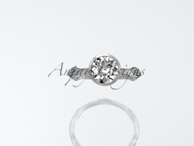 platinum diamond vine wedding ring,engagement ring ADLR21A - AnjaysDesigns