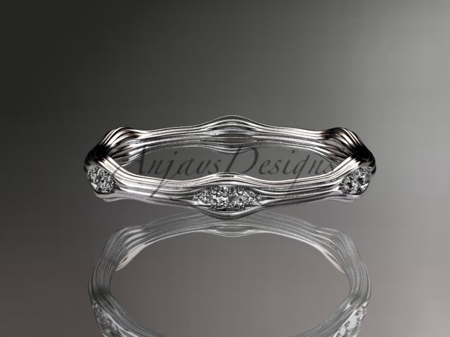 platinum diamond vine wedding ring, engagement ring ADLR21AB - AnjaysDesigns