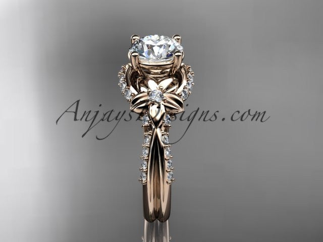 Unique 14kt rose gold diamond flower, leaf and vine wedding ring, engagement ring ADLR220 - AnjaysDesigns