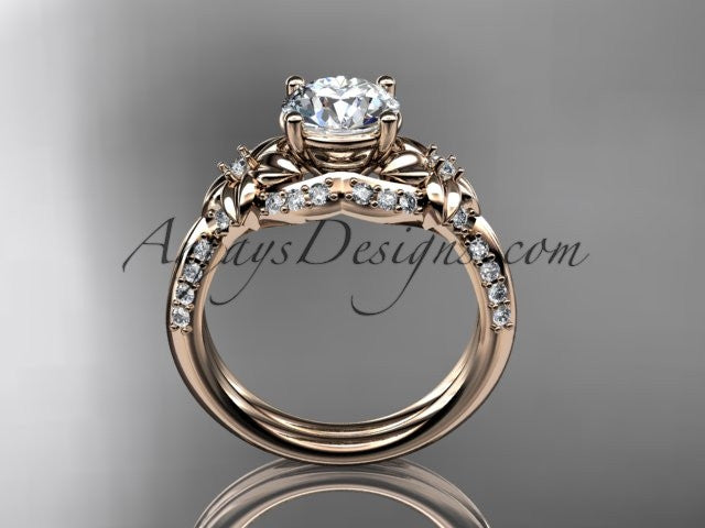 "Unique 14kt rose gold diamond flower, leaf and vine wedding ring, engagement ring with a ""Forever One"" Moissanite center stone ADLR220 - AnjaysDesigns"