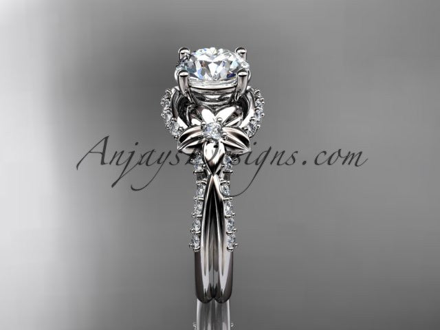 Unique platinum diamond flower, leaf and vine wedding ring, engagement ring ADLR220 - AnjaysDesigns