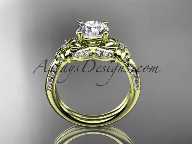 Unique 14kt yellow gold diamond flower, leaf and vine wedding ring, engagement ring ADLR220 - AnjaysDesigns