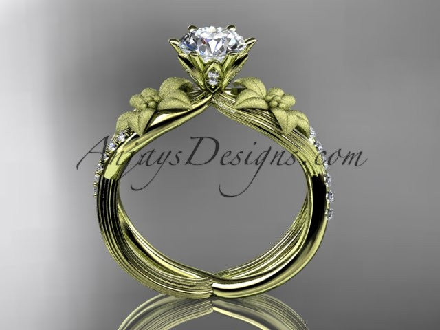 "Unique 14kt yellow gold diamond flower, leaf and vine wedding ring, engagement ring with a ""Forever One"" Moissanite center stone ADLR221 - AnjaysDesigns"