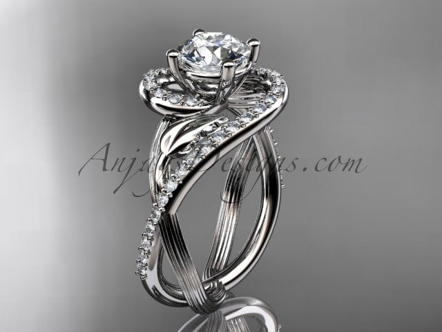Unique 14kt white gold diamond leaf and vine wedding ring, engagement ring ADLR222 - AnjaysDesigns