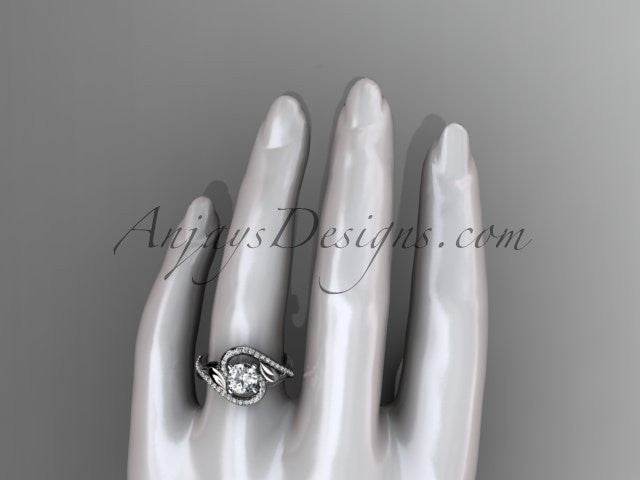 Unique platinum diamond leaf and vine wedding ring, engagement ring ADLR222 - AnjaysDesigns