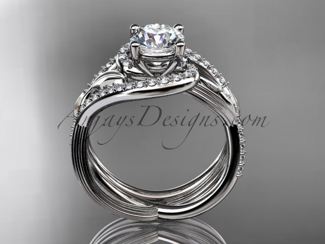Unique platinum diamond leaf and vine wedding set, engagement set ADLR222S - AnjaysDesigns