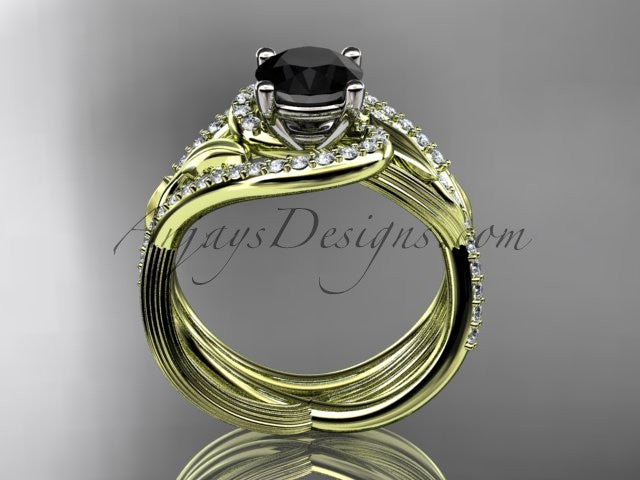 Unique 14kt yellow gold diamond leaf and vine wedding set, engagement set with a Black Diamond center stone ADLR222S - AnjaysDesigns
