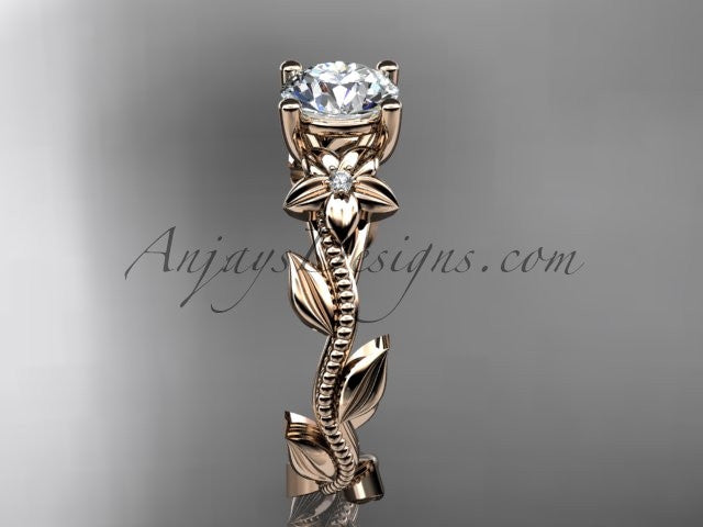 Unique 14kt rose gold diamond flower, leaf and vine wedding ring, engagement ring ADLR238 - AnjaysDesigns