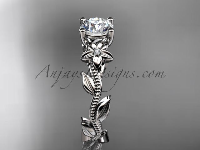 Unique platinum diamond flower, leaf and vine wedding ring, engagement ring ADLR238 - AnjaysDesigns
