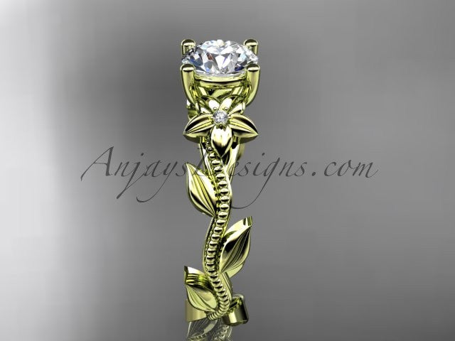 Unique 14kt yellow gold diamond flower, leaf and vine wedding ring, engagement ring ADLR238 - AnjaysDesigns
