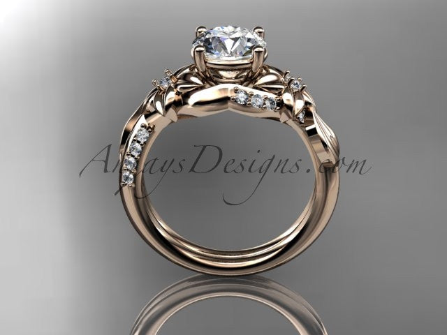 Unique 14k rose gold diamond flower, leaf and vine wedding ring, engagement ring ADLR224 - AnjaysDesigns