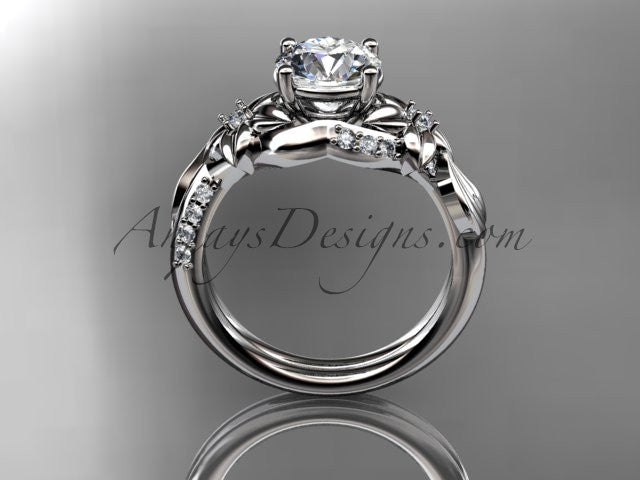 "Unique 14k white gold diamond flower, leaf and vine wedding ring, engagement ring with a ""Forever One"" Moissanite center stone ADLR224 - AnjaysDesigns"