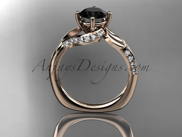 Unique 14k rose gold diamond leaf and vine wedding ring, engagement ring with a Black Diamond center stone ADLR225 - AnjaysDesigns