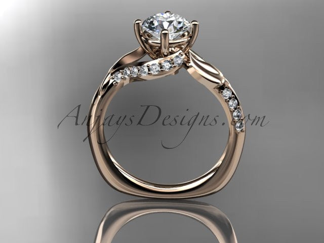 Unique 14k rose gold diamond  leaf and vine wedding ring, engagement ring ADLR225 - AnjaysDesigns