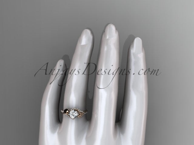 "Unique 14k rose gold diamond leaf and vine wedding ring, engagement ring with a ""Forever One"" Moissanite center stone ADLR225 - AnjaysDesigns"