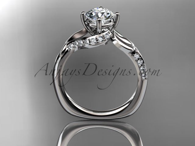 "Unique 14k white gold diamond leaf and vine wedding ring, engagement ring with a ""Forever One"" Moissanite center stone ADLR225 - AnjaysDesigns"