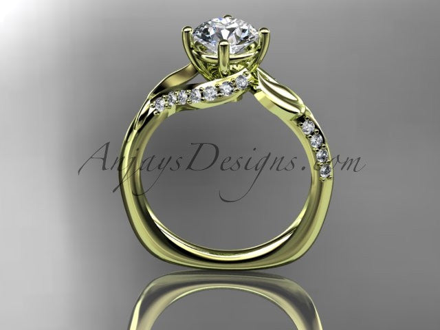 "Unique 14k yellow gold diamond leaf and vine wedding ring, engagement ring with a ""Forever One"" Moissanite center stone ADLR225 - AnjaysDesigns"