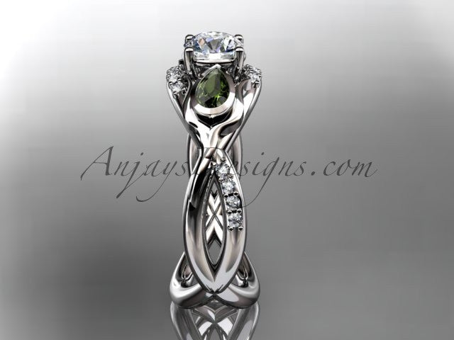 "Unique 14kt white gold diamond tulip flower, leaf and vine engagement ring with a ""Forever One"" Moissanite center stone ADLR226 - AnjaysDesigns"