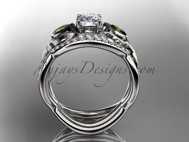 "Unique 14kt white gold diamond tulip flower, wedding set, leaf and vine engagement set with a ""Forever One"" Moissanite center stone ADLR226S - AnjaysDesigns"
