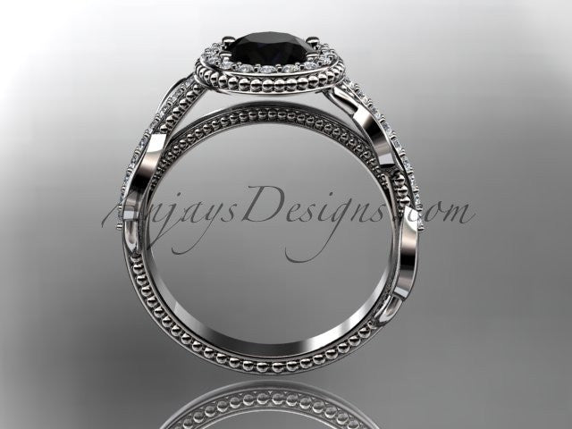 14kt white gold diamond unique engagement ring, wedding ring with a Black Diamond center stone ADLR229 - AnjaysDesigns