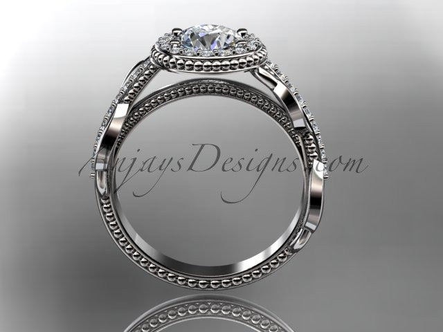 "Platinum diamond unique engagement ring, wedding ring with a ""Forever One"" Moissanite center stone ADLR229 - AnjaysDesigns"