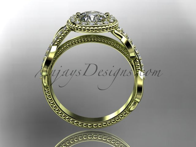 "14kt yellow gold diamond unique engagement ring, wedding ring with a ""Forever One"" Moissanite center stone ADLR229 - AnjaysDesigns"