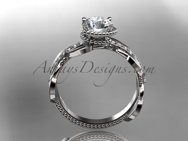 Unique 14k white gold diamond leaf and vine diamond engagement ring ADLR231 - AnjaysDesigns