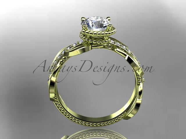 "Unique 14k yellow gold diamond leaf and vine diamond engagement ring with a ""Forever One"" Moissanite center stone ADLR231 - AnjaysDesigns"