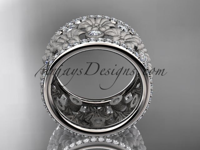 14k white gold diamond flower wedding ring, engagement ring ADLR232B - AnjaysDesigns
