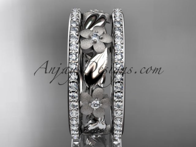 14k white gold diamond flower wedding ring, engagement ring ADLR233B - AnjaysDesigns